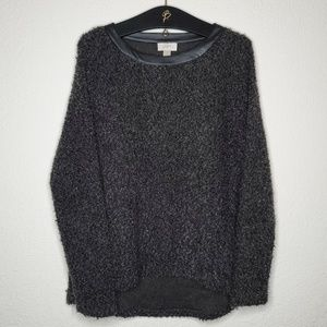 LOFT Wool Looking Sweater with Faux Leather Trim